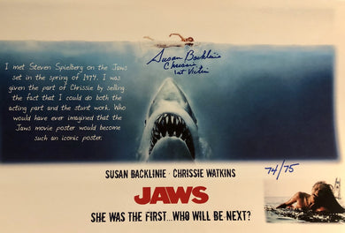 JAWS Susan Backlinie Autographed Limited Edition Custom