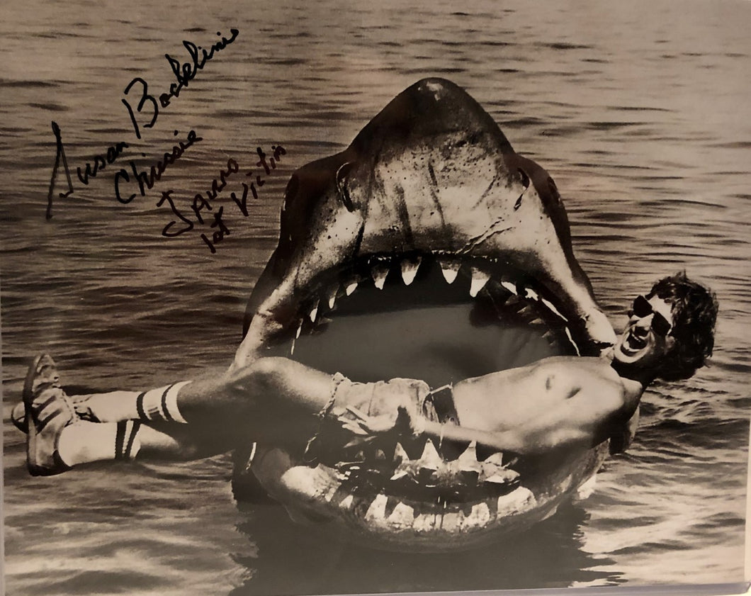 JAWS 1st Victim autographed 8x10 photo with Steven Speilberg in shark JAWS