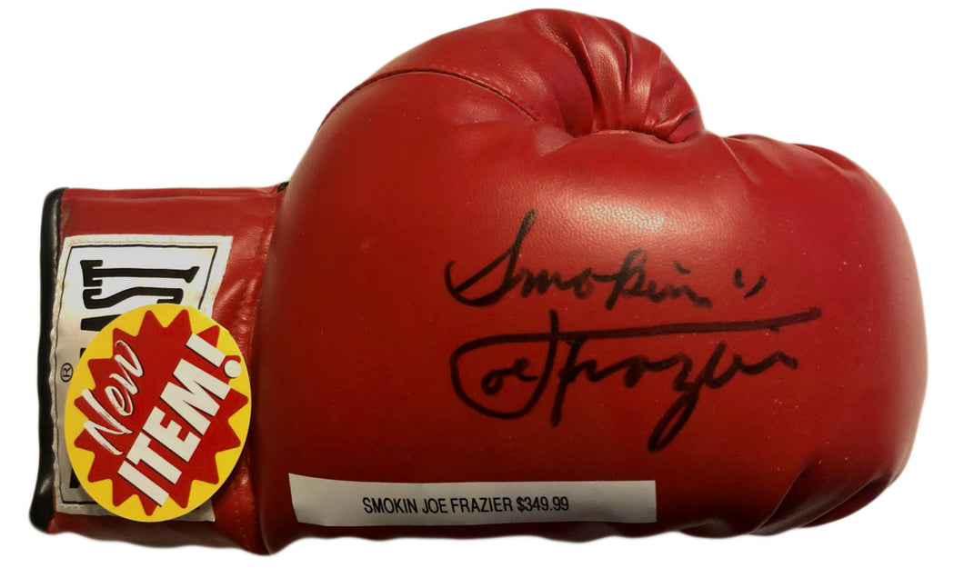 Joe Frazier Signed Autographed Rare Smoking inscription Boxing Glove