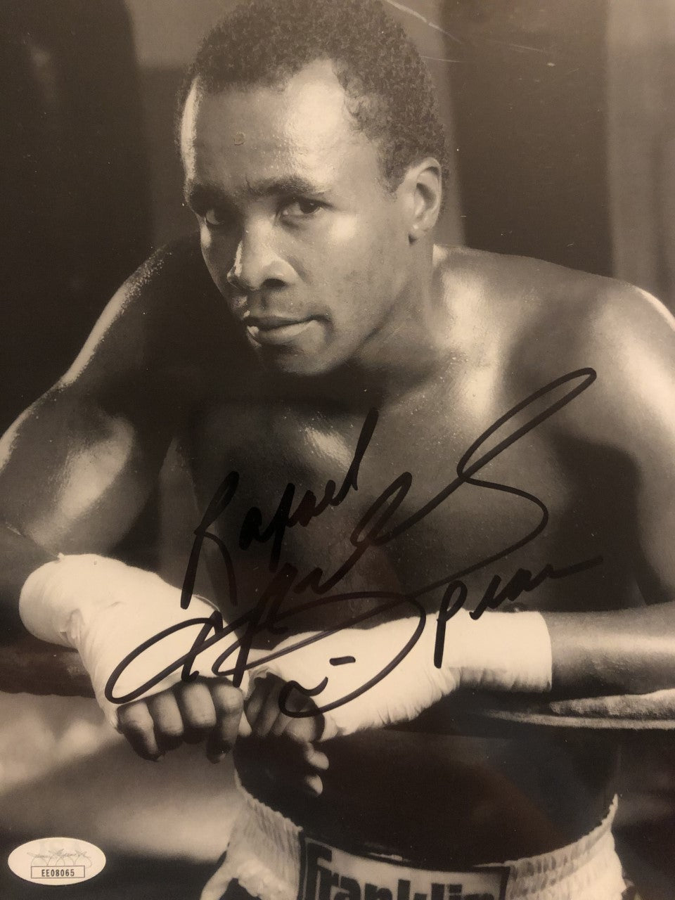 Sugar Ray Leonard Signed 8x10 Photo Full name spelled out, Rare