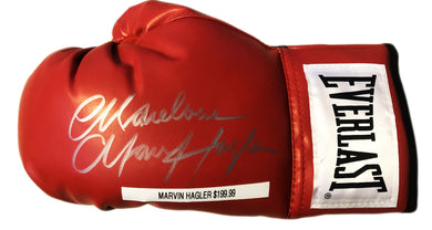 Marvin Hagler Autographed signed in silver Red Everlast Boxing Glove
