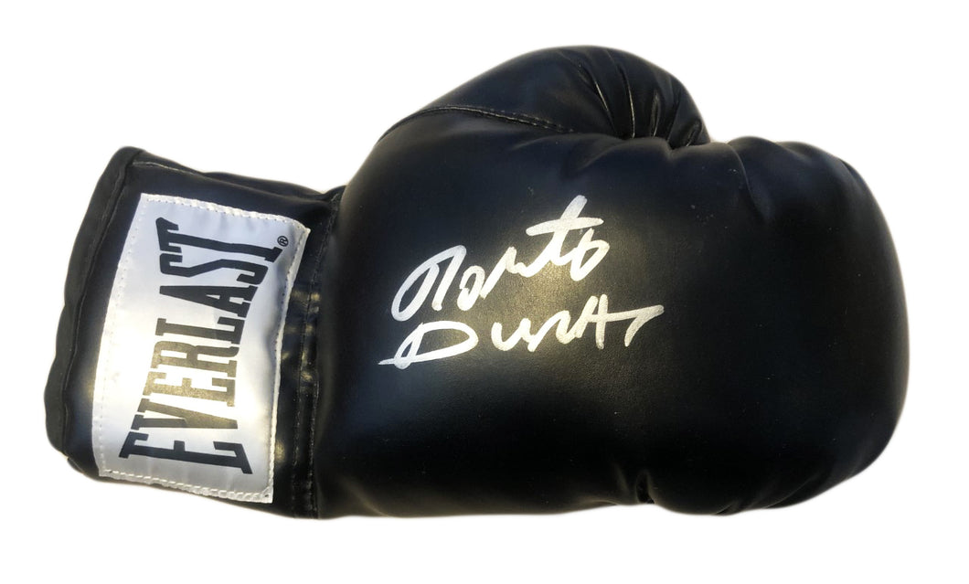 Roberto Duran Autographed Signed Black Everlast Boxing Glove large signature