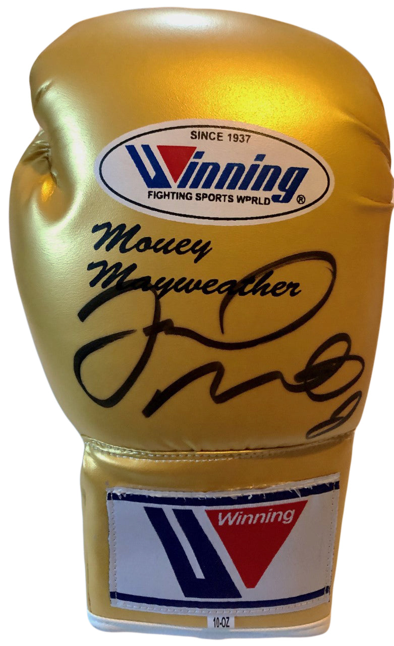Floyd Mayweather signed autographed Winning Gold color Boxing Glove Full JSA Letter