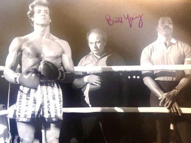 Burt Young Autographed Rocky 8x10 Boxing photo in Blue