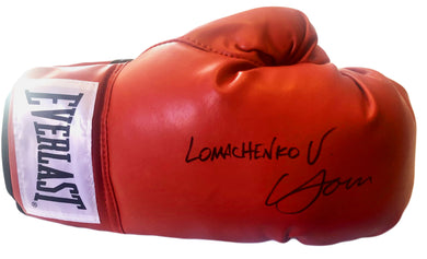 Vasyl Lomachenko Rare Autographed Everlast Red Boxing Glove in black Full Signature