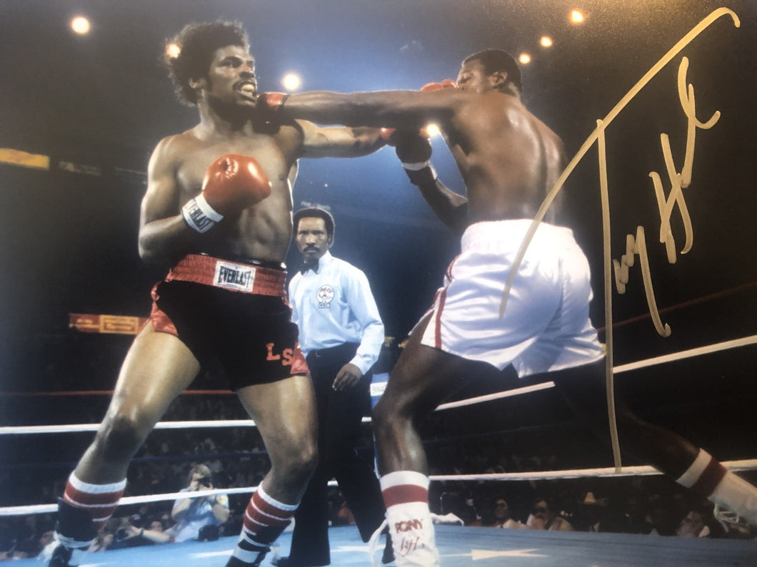 Larry Holmes vs Leon Spinks signed Autographed 8x10 Boxing Photo