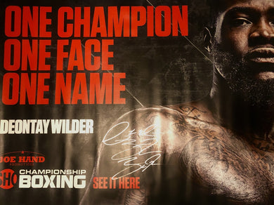 Deontay Wilder 3x4 silver signature autographed Huge Boxing Banner
