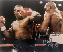Evander Holyfield Autographed signed vs Mike Tyson 8x10 size Rare Photo