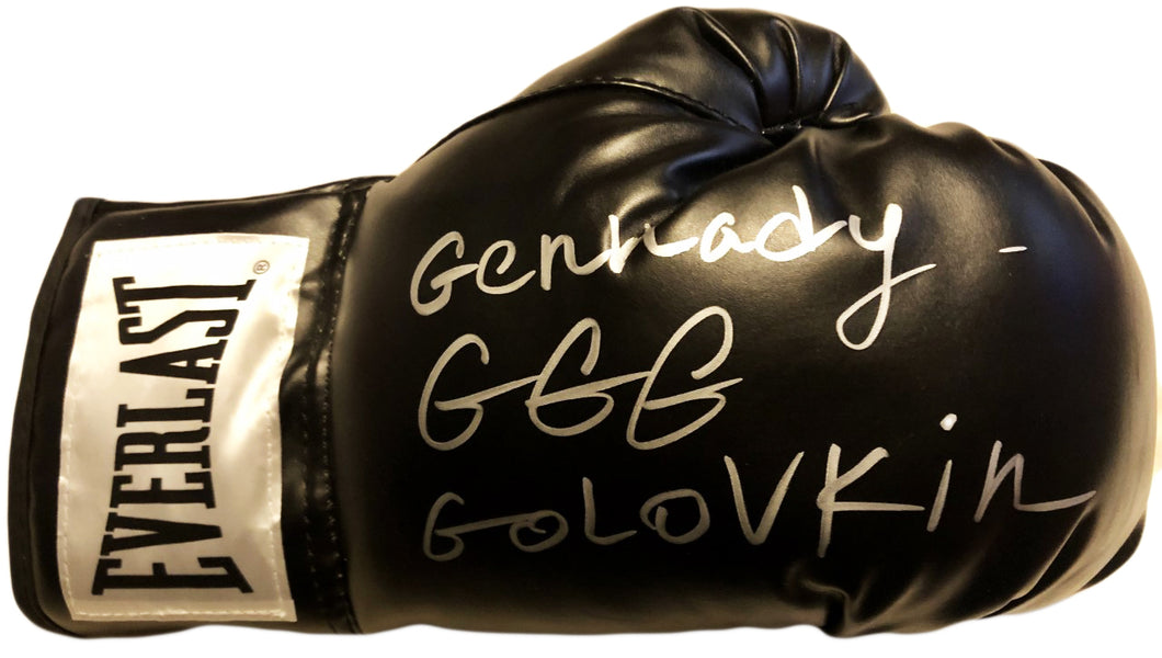 Gennady Golovkin Autographed Everlast Black Boxing Glove in Silver Signature