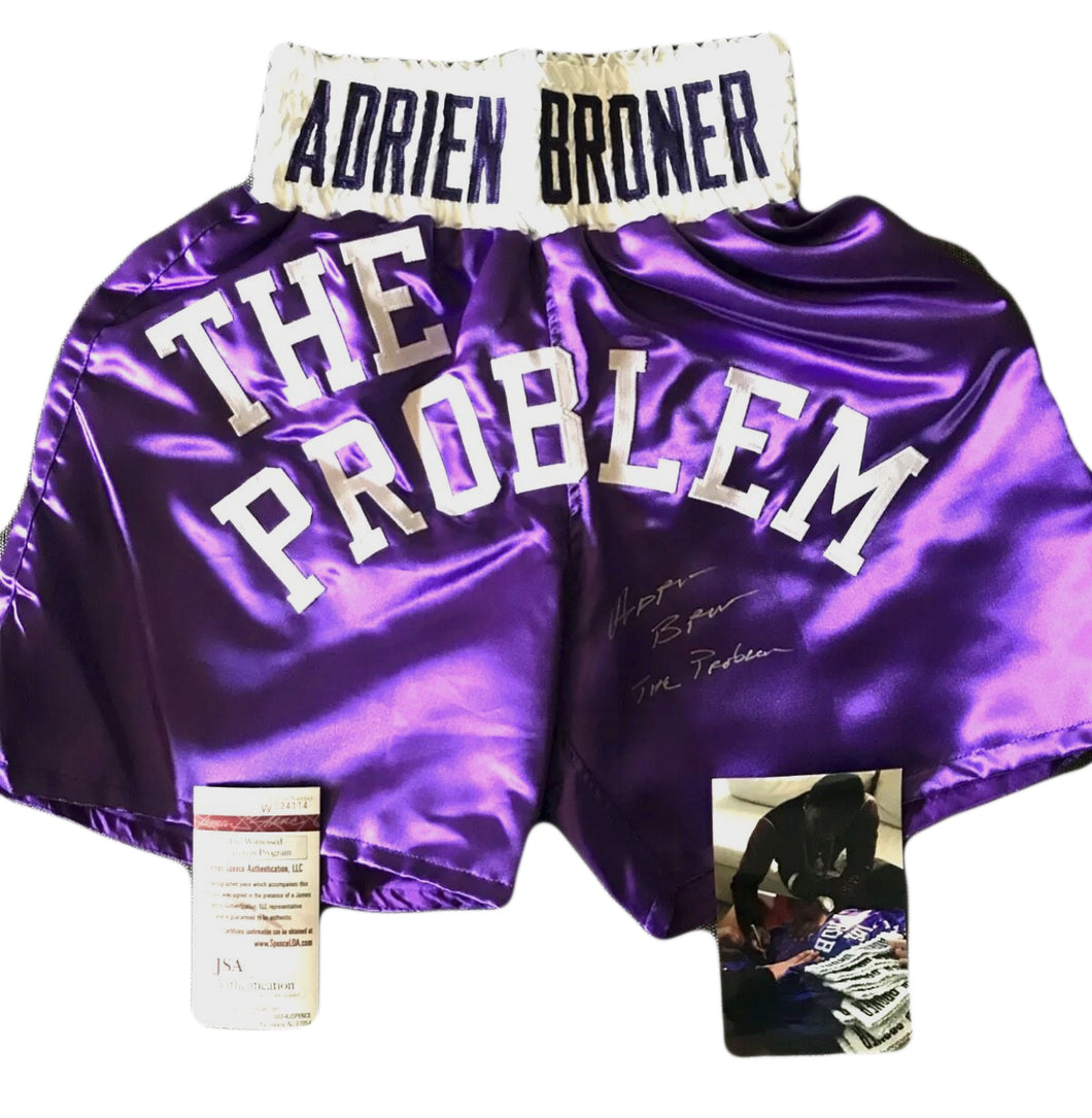 Adrien Broner Autographed/Signed Boxing Shorts/Trunks JSA The Problem.