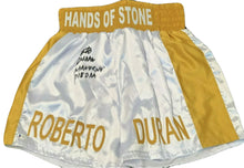 "Roberto Duran Signed Custom made ""Hands of Stone"" Boxing Trunks (Beckett COA cert)"