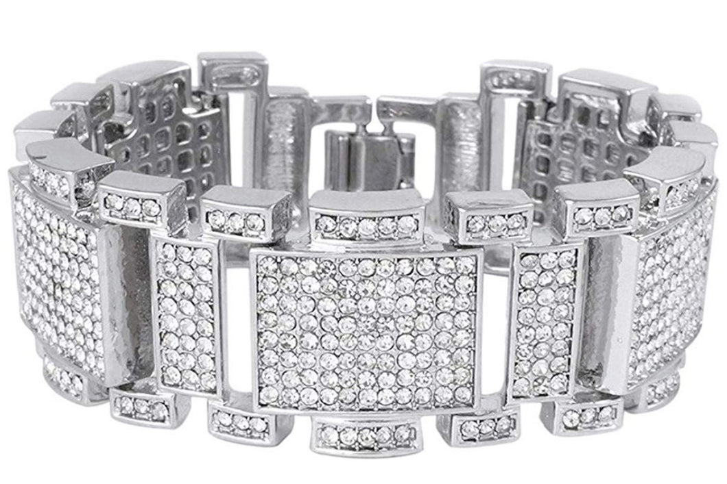 Iced Silver finish Bling Bracelet - Men's Hip Hop Jewelry