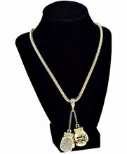 Boxing Gloves Iced Pendant Gold Finish Necklace 36 Inch Long Hip Hop Chain