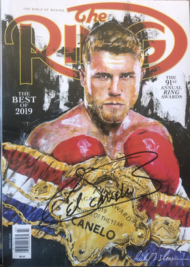 Canelo Alvarez Autographed Signed RING Magazine cover in Black