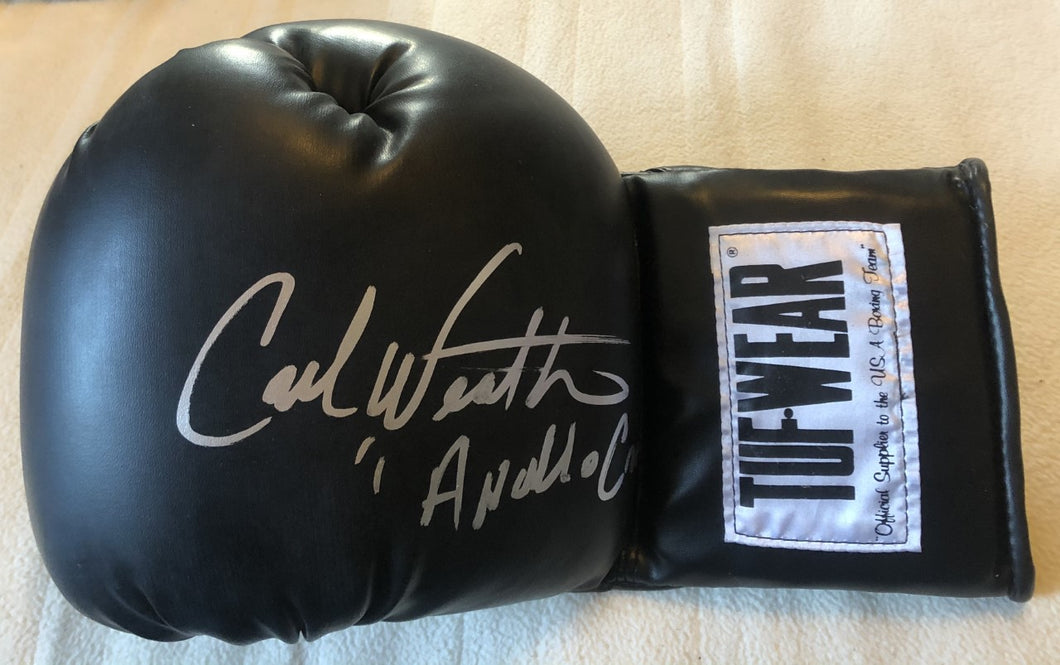 Carl Weathers Autographed TUFFWEAR Black Boxing Glove Inscribed