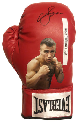 Vasyl Lomachenko New Rare Autographed Everlast Red Boxing Glove in Black Signature JSA