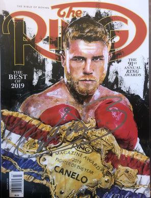 Canelo Alvarez Autographed Signed RING Magazine cover in silver
