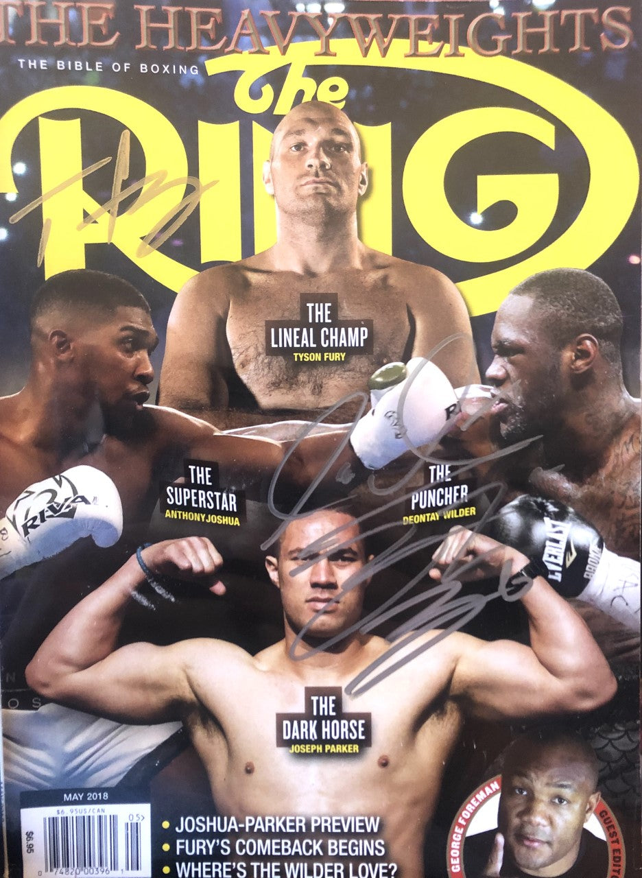 Deontay Wilder and Tyson Fury Autographed Ring Magazine cover