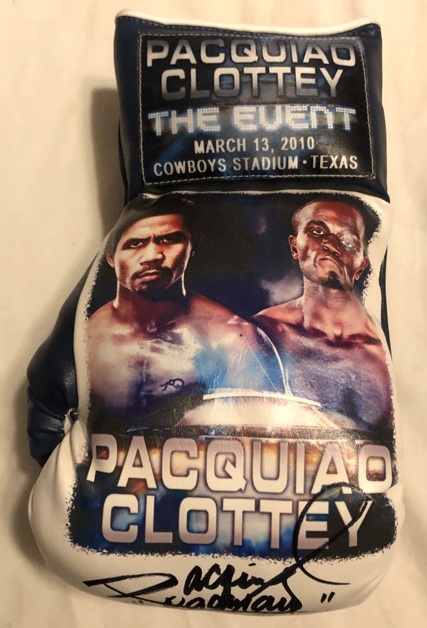 Pacquiao vs Clottey Autographed and silk screen Custom Boxing Glove