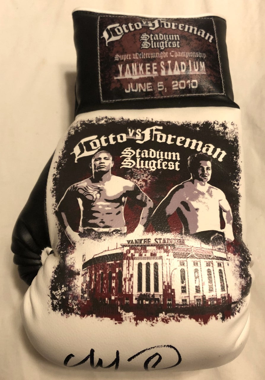 Cotto vs Foreman Autographed and silk screen Custom Boxing Glove