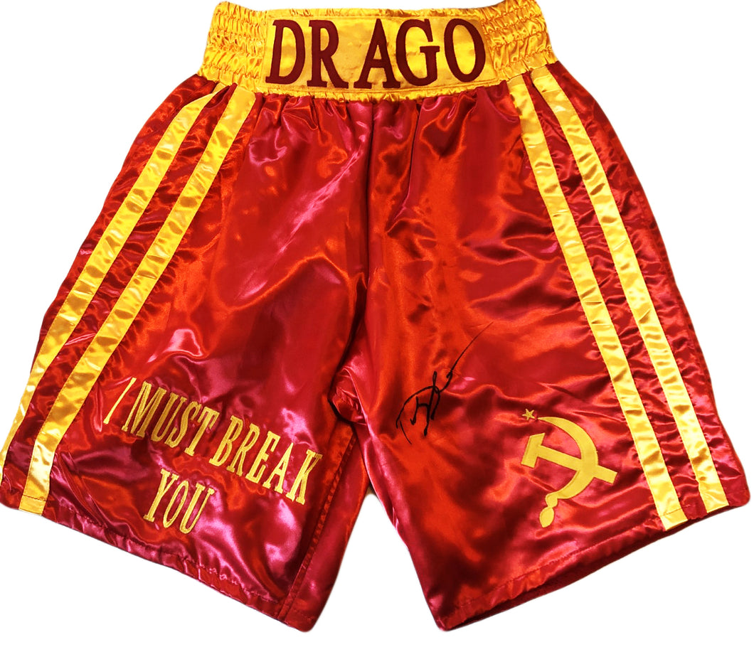 Dolph Lundgren Red and Yellow Drago Hand made Boxing Trunks signed