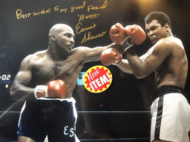 Earnie Shavers vs Muhammad Ali signed Autographed 16 x 20 Photo