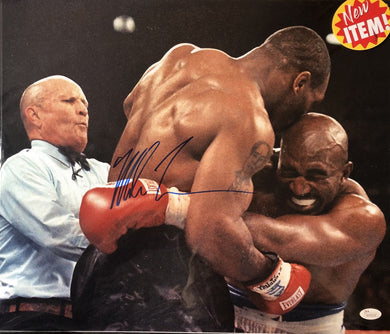 Mike Tyson Signed vs Evander Holyfield 16x20 Photo (JSA COA)