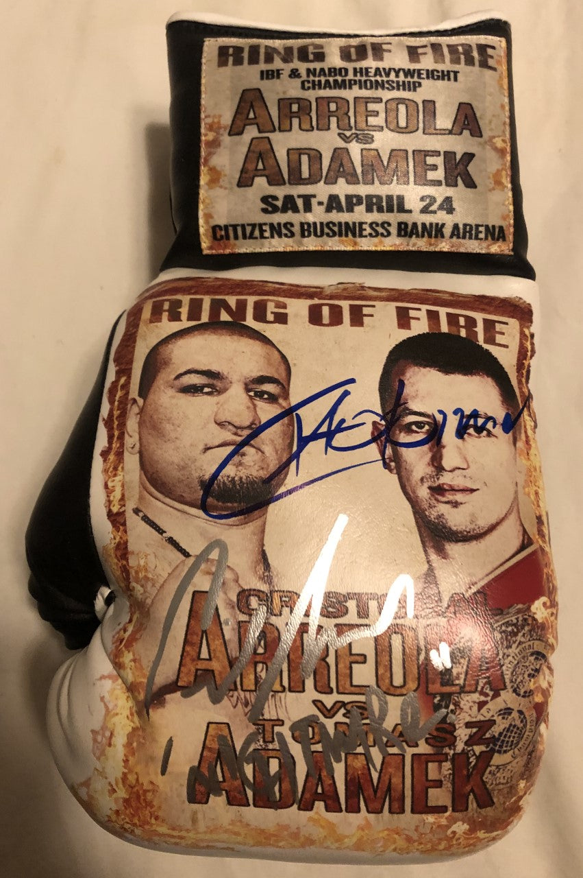 Arreola vs Adamek Dual Autographed and silk screen Custom Boxing Glove