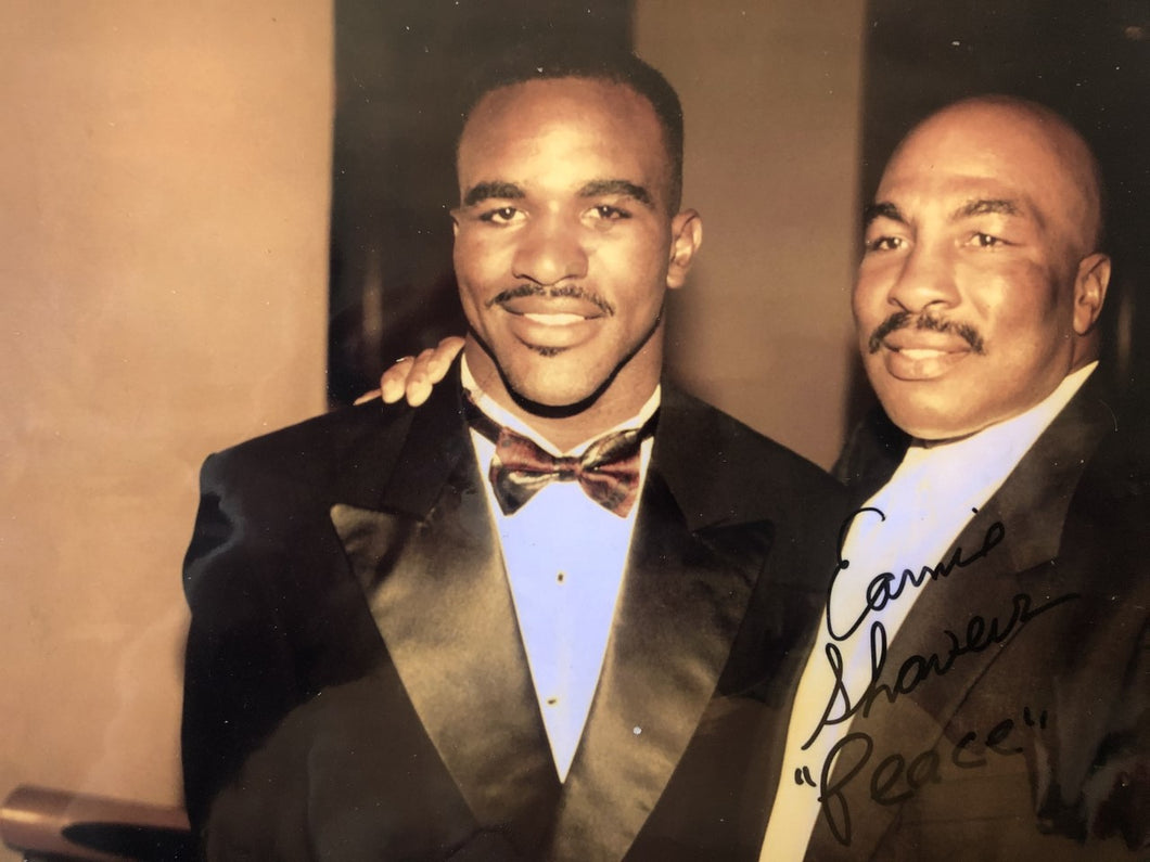Earnie Shavers and Evander Holyfield signed Autographed 8 x 10 Photo