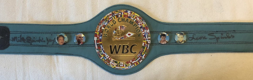 Spinks Brothers Michael and Leon Dual Autographed WBC Championship Mini Size Belt JSA
