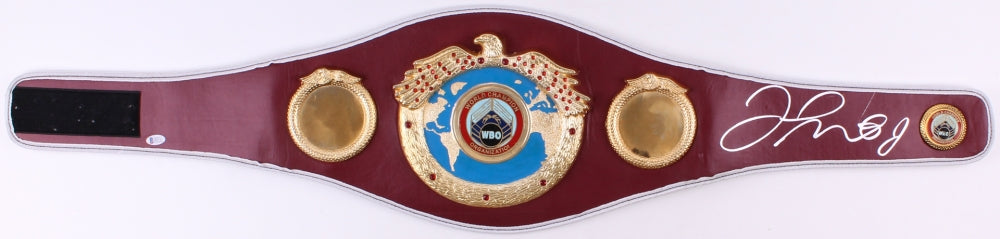 Floyd Mayweather Jr. Signed Maroon/Gold WBO Heavyweight Championship Belt (Becektt COA)