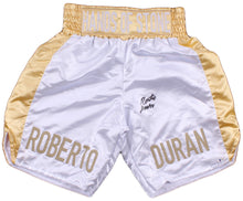 "Roberto Duran Signed Custom ""Hands of Stone"" Boxing Trunks (Beckett COA cert)"