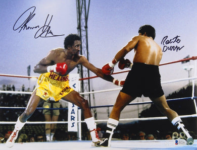 Tommy Hearns & Roberto Duran Beautiful Signed 11x14 Photo (Beckett COA)