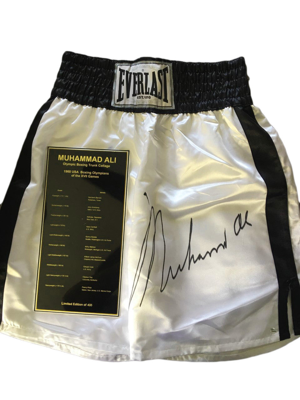 Muhammad Ali Autographed Everlast Largest Signature on Boxing Trunks OA Certified