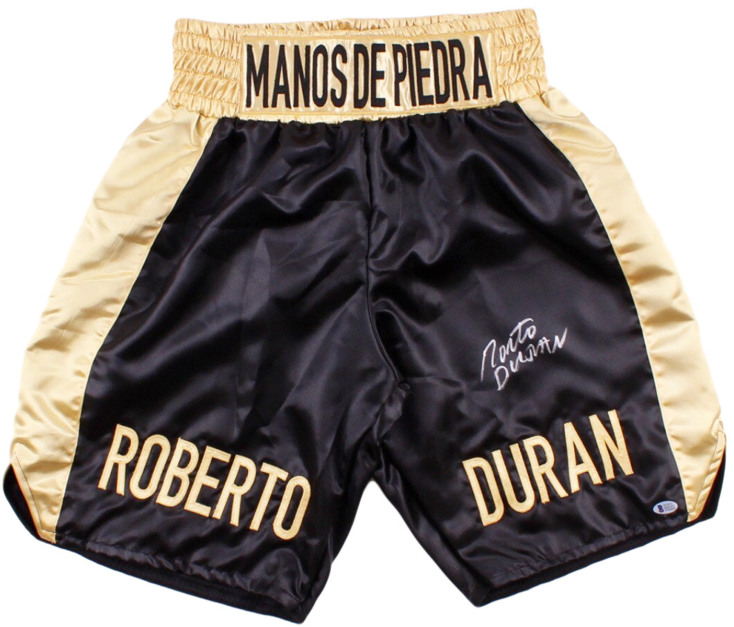 Roberto Duran Custom Boxing Trunks Autographed in Silver Signature Beckett Cert