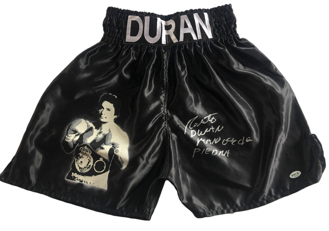 Roberto Duran Autographed Custom Painted Boxing Trunks with WBC certification