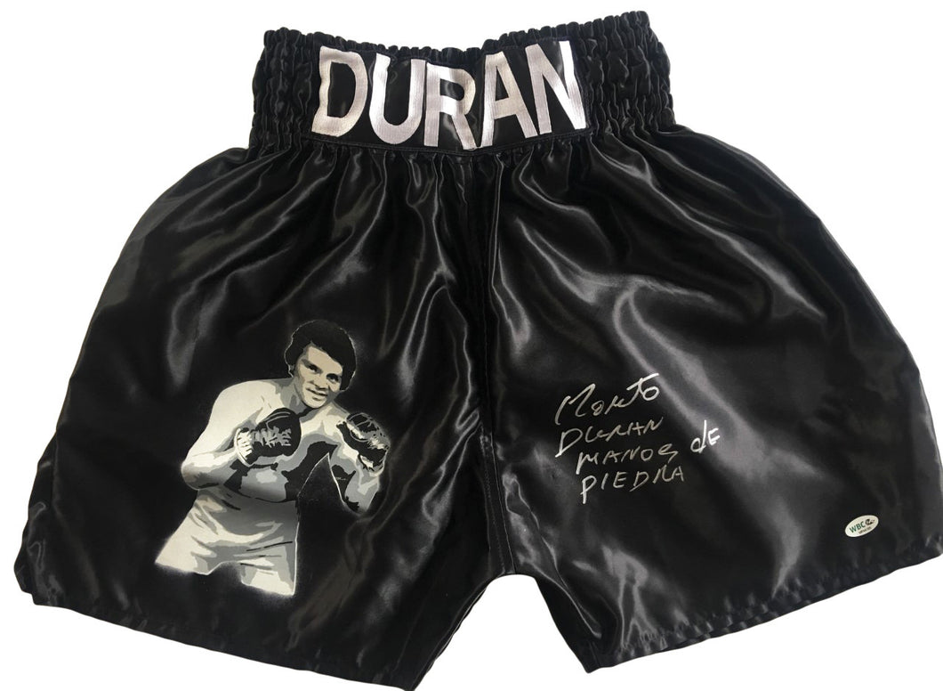 Roberto Duran Custom Painted Boxing Trunks with extra inscription and WBC certified