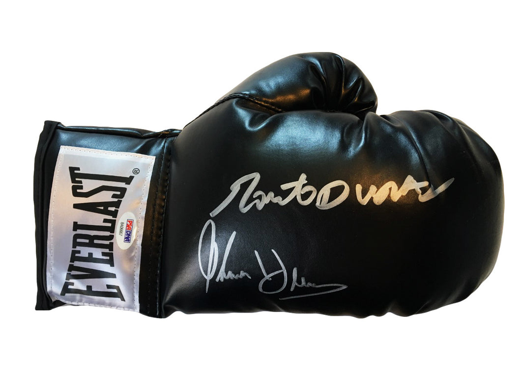 Duran and Hearns Dual Autographed Everlast Black Boxing Glove in Silver Signature PSA/DNA