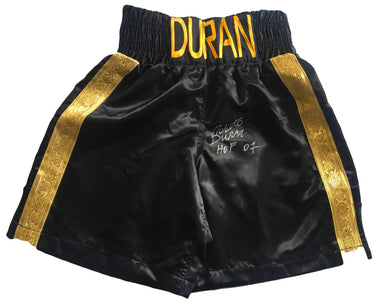 Roberto Duran Custom Boxing Trunks Autographed in Silver Signature and HOF Inscription added PSA/DNA