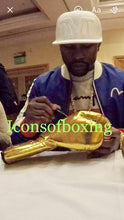 Floyd Mayweather Jr. VIP Gold Rare Autographed Boxing Gloves with Photo