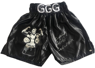 Genady Golovkin Triple GGG Autographed Custom Painted Boxing Trunks