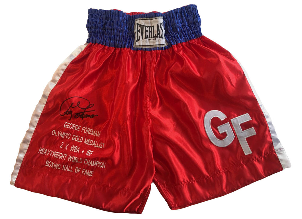 George Foreman Autographed Custom Made Everlast Boxing Trunks.