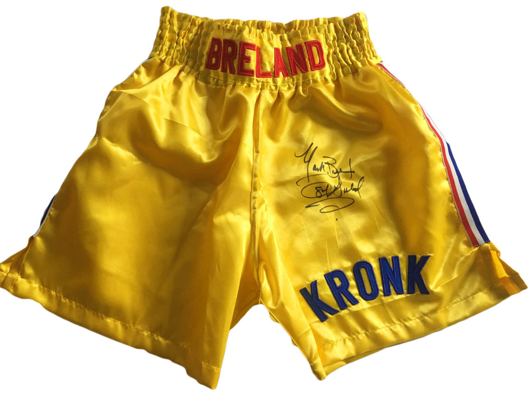 Mark Breland Autographed Custom Made Kronk Gym Boxing Trunks