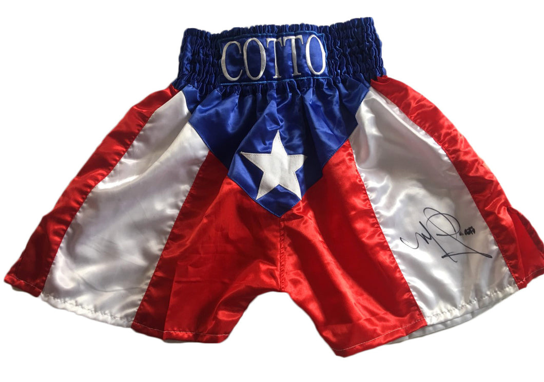 Miguel Cotto Signed Puerto Rico Custom Made Boxing Trunks