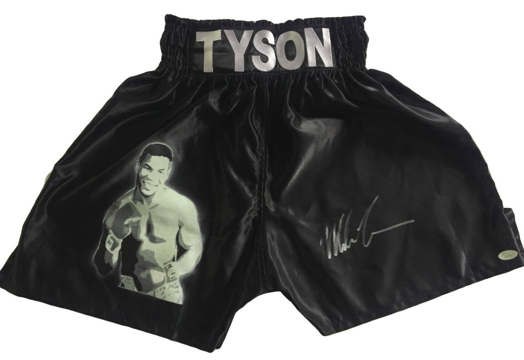 Autographed Mike Tyson Custom Painted Boxing Trunks JSA Certified