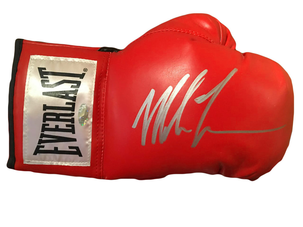 Mike Tyson Silver Autographed Red Everlast Boxing Glove Steiner Certified