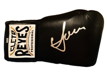 Boxer Vasyl Lomachenko Autographed Reyes Black Boxing Glove in Silver Signature