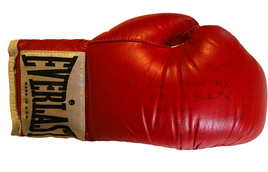 Muhammad Ali Autographed Vintage Boxing Glove with added Inscription and Dated with Full Letter JSA