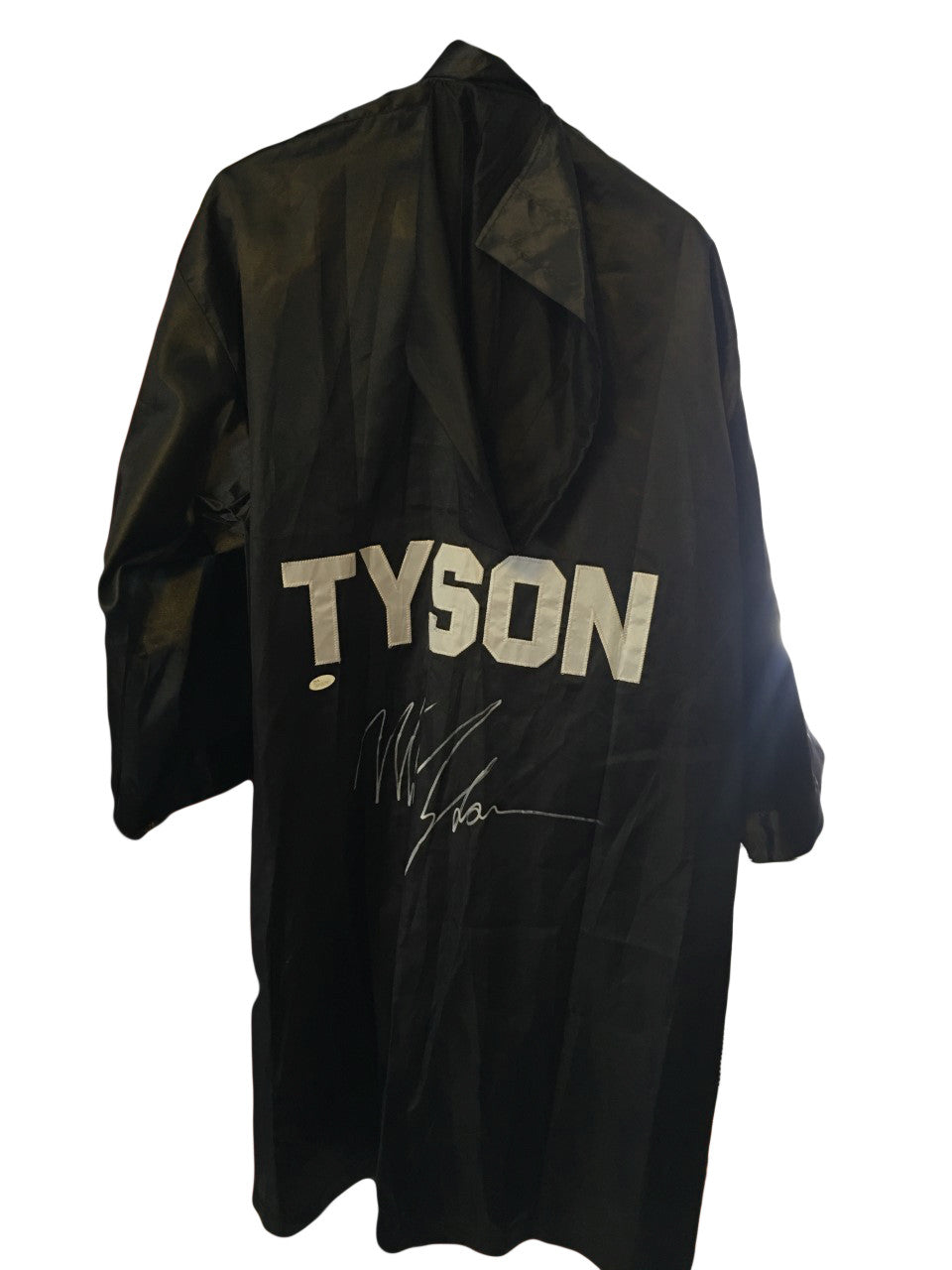 Mike Tyson Autographed Custom Made Black hooded Boxing Robe signed in Silver and JSA certified.