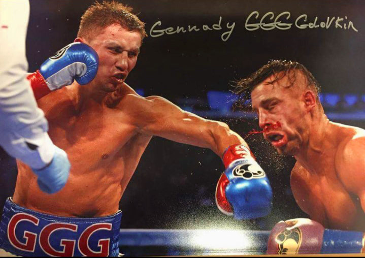 Gennady Golovkin Triple GGG Autographed Color 18 x 12 Size photo with silver full signature, WBC Cert